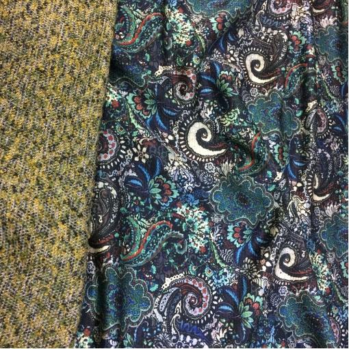 Жаккард пальтово-костюмный двухсторонний принт ETRO синие огурцы