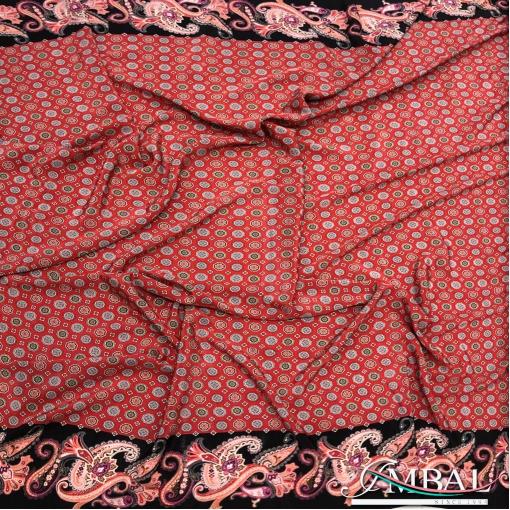 Шёлк креповый принт Prada мелкая геометрия в красных тонах