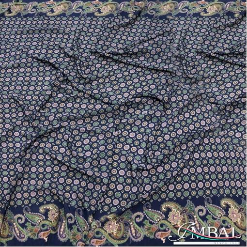 Шёлк креповый принт Prada мелкая геометрия в синих тонах