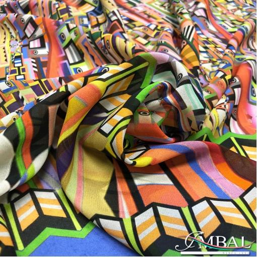 Шёлк жоржет дизайн Moschino разноцветный геометричный принт