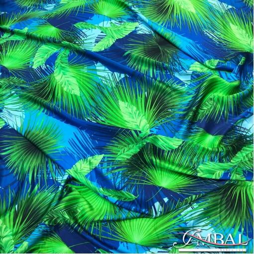 Шёлк атласный принт Versace пальмовые ветви в сине-зелёных тонах