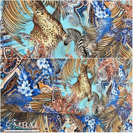 Шёлк креп матовый принт Dolce&Gabbana леопард и зебра на голубом фоне