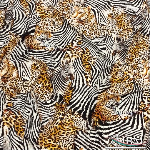 Шёлк креп матовый принт Dolce&Gabbana зебра и леопард