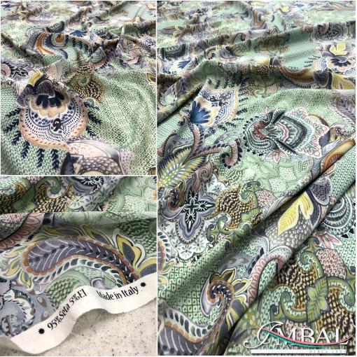 Шёлк креп стрейч принт ETRO огурцы и орнамент на разбелённо-мятном фоне
