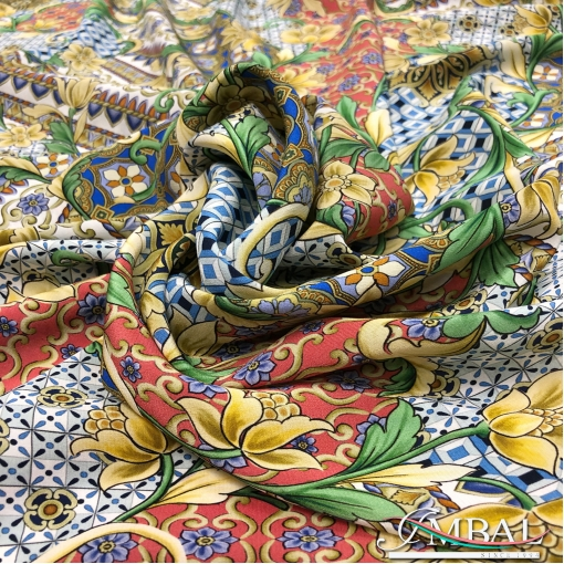 Шёлк креп принт Dolce&Gabbana пэчворк мозаика