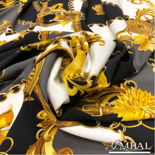 Шёлк креп стрейч принт Versace цепи с серо-чёрые заплатки