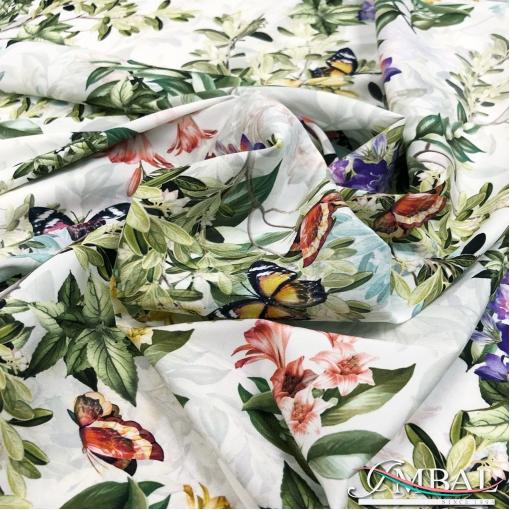 Шёлк креп стрейч принт Gucci ветви и бабочки на молочном фоне