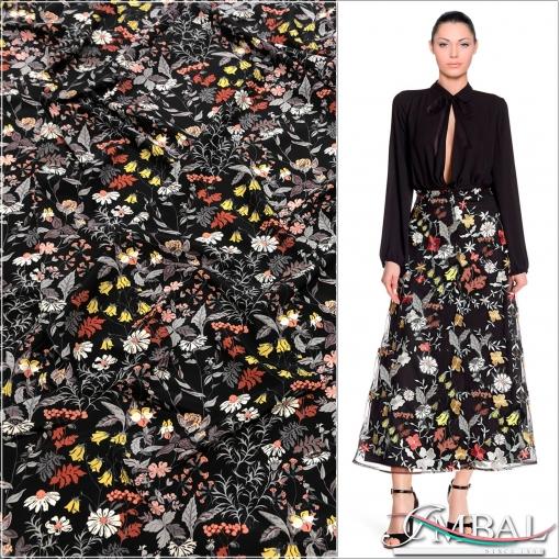 Шёлк креповый матовый принт Gucci мелкие цветы на черном фоне