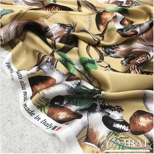 Шелк атласный дизайн D&G белки, грибы и утки на золотистом фоне