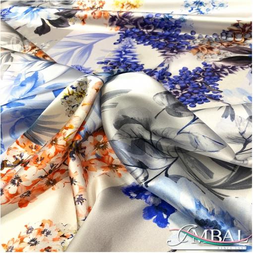 Шелк атласный стрейч дизайн Zimmermann цветочный пэчворк в сине-голубой гамме