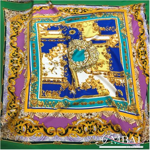 Шелк матовый платок 142х142 см дизайн Versace с вензелями
