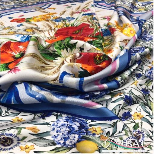 Шелк твил мягкий платок 142х140 см дизайн  маки и колосья