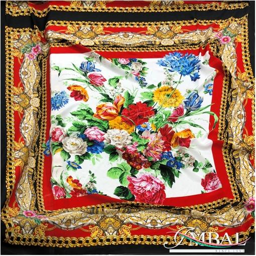 Шелк комфорт матовый купон 140х140 см дизайн Versace цветы в цепочной рамке
