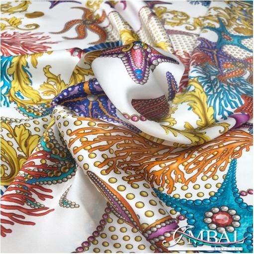 Шелковый атласный платок 140х140 см дизайн Versace кораллы и морские звезды