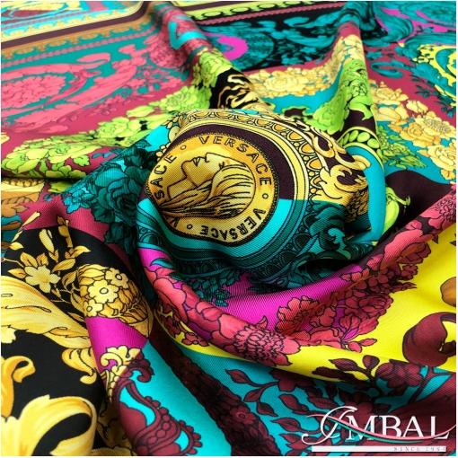 Шелк твил мягкий купон 85х135 см дизайн Versace пэчворк медальоны