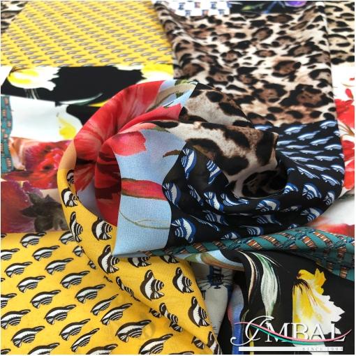 Шелк креп стрейч дизайн  пэчворк леопард, цветы и геометрия