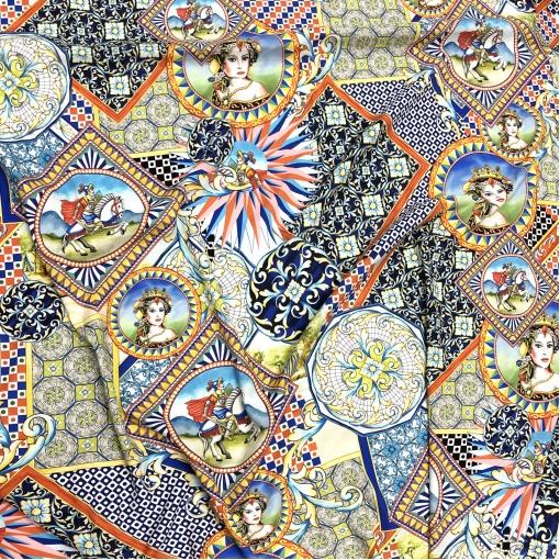 Шелк креповый матовый стрейч принт D&G пэчворк мозаика с рыцарем