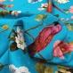 Шелк жаккардовый принт попугаи и розы на лазурном фоне