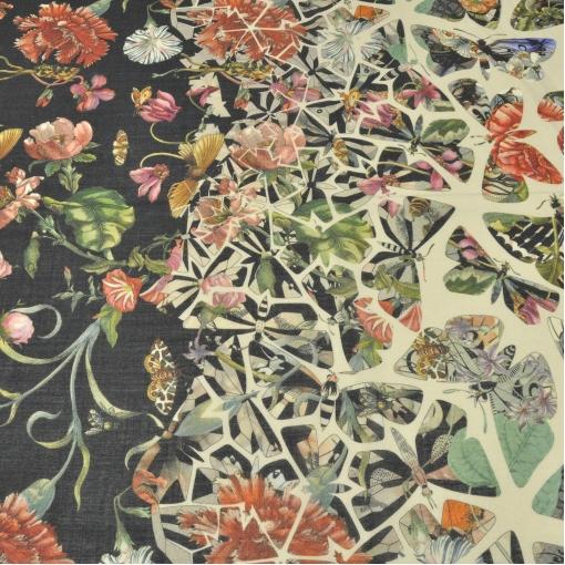 Шерсть плательная купон, калейдоскоп из цветов и бабочек