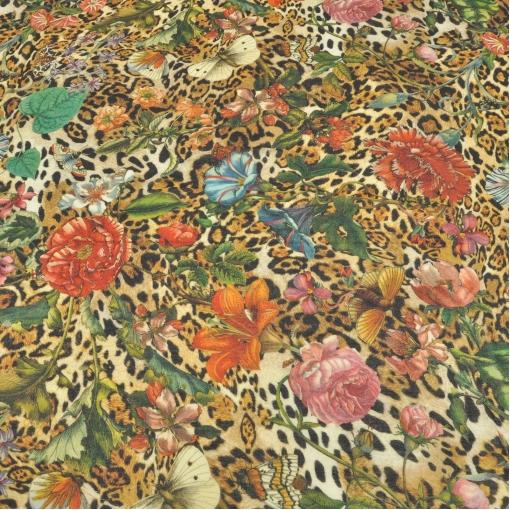 Шерсть плательная крепового плетения леопард, цветы и бабочки