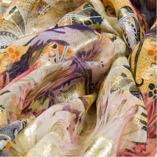 Шифон оранжевых тонов с золотым люрексом и цветочным принтом by Tony Manero
