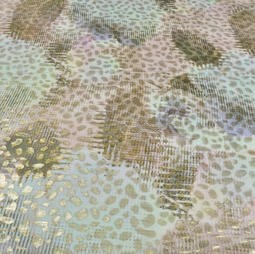 Шелк шифон с люрексом by Tony Manero розово-голубые разводы