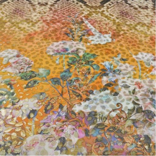 Шелк шифон с люрексом by Tony Manero оранжевый фон, цветы и рептилия