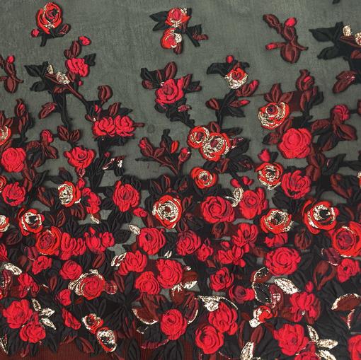 Шелковая органза Elie Saab купонная с объемными цветами