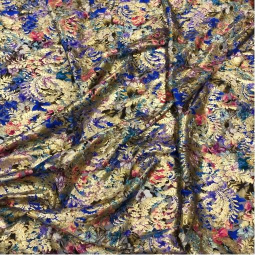 Жаккард шелковый принт Chanel с люрексом и синими листьями